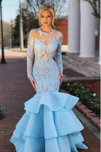 Load image into Gallery viewer, Pretty Long Sleeves Light Blue Long Mermaid Lace Prom Dresses Evening Dresses