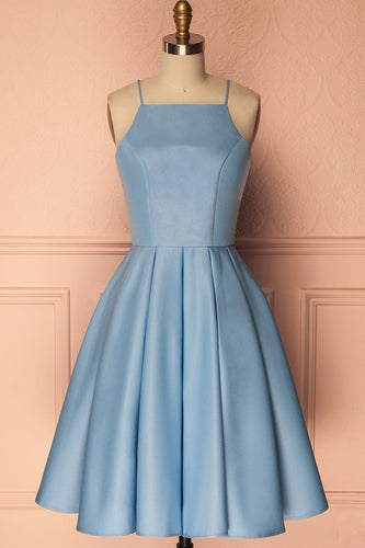 A Line Blue Halter Sleeveless Short Satin Knee Length Homecoming Dress RS601