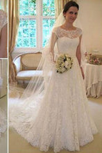 Load image into Gallery viewer, Long A-Line Round Neck Illusion White Lace Wedding Party Dresses WD0044