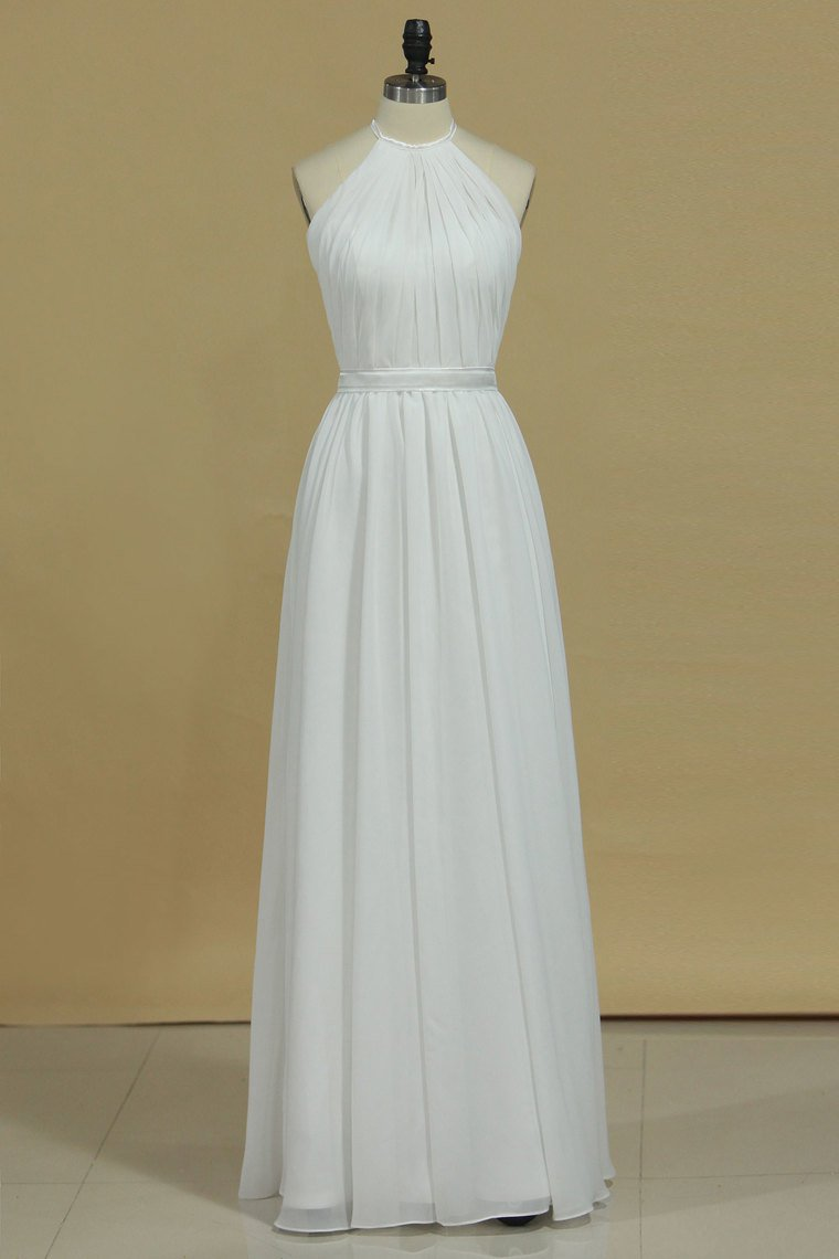 2019 Sexy Open Back Bridesmaid Dresses A Line Halter Chiffon Floor Length