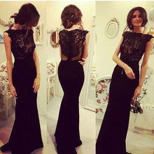 Load image into Gallery viewer, Charming Prom Dress Black Chiffon Sexy Long Evening Dress Evening Formal Gown Prom Dresses RS933