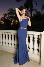 Load image into Gallery viewer, 2019 Evening Dresses Mermaid Strapless Satin With Sash Sweep Train