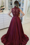 2019 High Neck Prom Dresses A Line Satin Appliques With Beads Sweep Train