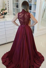 Load image into Gallery viewer, 2019 High Neck Prom Dresses A Line Satin Appliques With Beads Sweep Train
