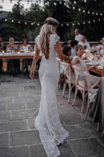 Load image into Gallery viewer, Backless Lac Mermaid Wedding Dresses Cap Sleeve Bohemian Bridal Gown