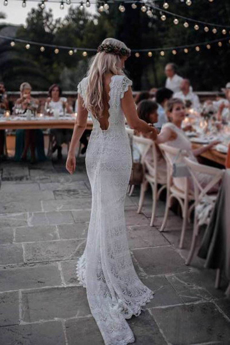 Backless Lac Mermaid Wedding Dresses Cap Sleeve Bohemian Bridal Gown