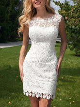 Load image into Gallery viewer, Sheath Scoop Neck Ivory Lace Tulle Detachable Ruffles Open Back Wedding Dresses RS738