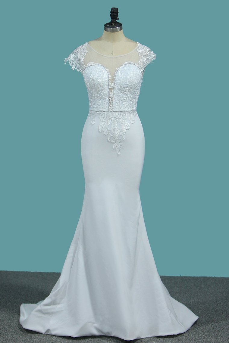 2019 Wedding Dresses Spandex Bateau Cap Sleeve With Applique And Beads Court Train