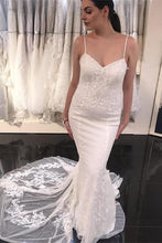Load image into Gallery viewer, Spaghetti Straps Sheath Classy Ivory Lace Long Wedding Dresses
