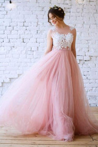 New Arrival Princess Scoop Neck Tulle with Appliques Lace Floor-length Pink Prom Dresses RS630