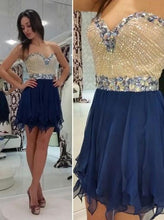 Load image into Gallery viewer, Hot-selling A-line Sweetheart Mini Sleeveless Chiffon Royal Blue Homecoming Dress with Beaded RS450