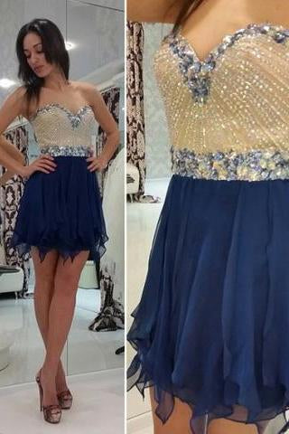 Hot-selling A-line Sweetheart Mini Sleeveless Chiffon Royal Blue Homecoming Dress with Beaded RS450