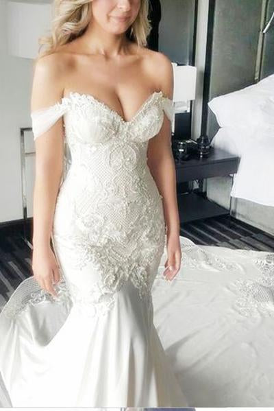 Mermaid Off-the-Shoulder Ivory Lace Long Cheap Sweetheart Backless Plus Size Wedding Dress RS619