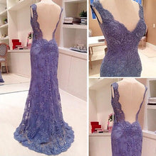 Load image into Gallery viewer, 2019 New Style Custom Mermaid V-Neck Sleeveless Open Back Blue Lace Evening Dresses RS11