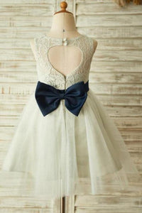 Princess Ivory Beautiful Lace and Tulle Scoop Open Back Cheap Flower Girl Dresses with Bow RS772