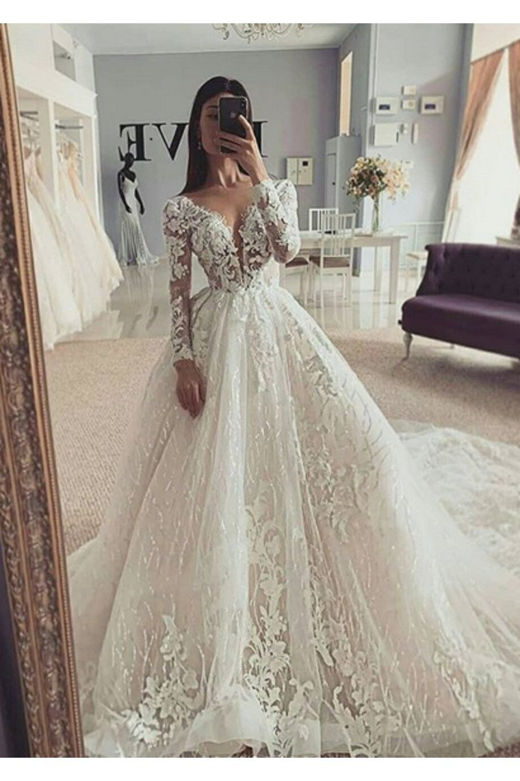Ball Gown Illusion Long Sleeves Wedding Dress With Appliques V Neck
