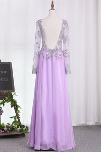 2019 A Line Long Sleeves Scoop Chiffon Prom Dresses With Applique