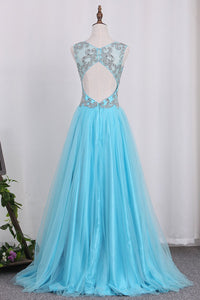 2019 V Neck Open Back A Line With Beading Tulle Prom Dresses