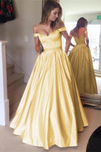 Load image into Gallery viewer, Off The Shoulder Yellow Long Zipper Back Beautiful Prom Dresses