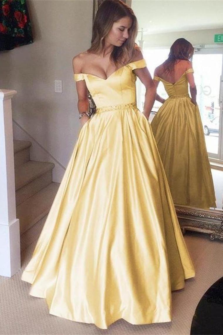 Off The Shoulder Yellow Long Zipper Back Beautiful Prom Dresses