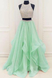 Stunning Sequins And Beaded Top Organza Ruffles Two Piece Prom Dress Prom Dresses RS172