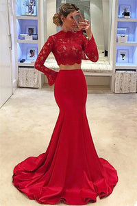 2019 Two-Piece High Neck Long Sleeves Satin With Applique Mermaid Prom Dresses