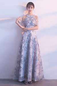 Lace Prom Dresses A Line Tulle Floor Length