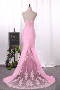 2019 New Arrival Mermaid Prom Dresses Sexy High Neck Spandex Covered Button