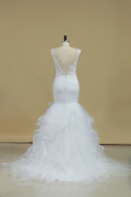 Load image into Gallery viewer, 2019 V Neck Mermaid Wedding Dresses Tulle With Applique And Ruffles Chapel Train