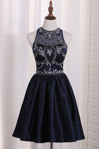 2019 New Arrival A Line Satin Scoop Beaded Bodice Homecoming Dresses