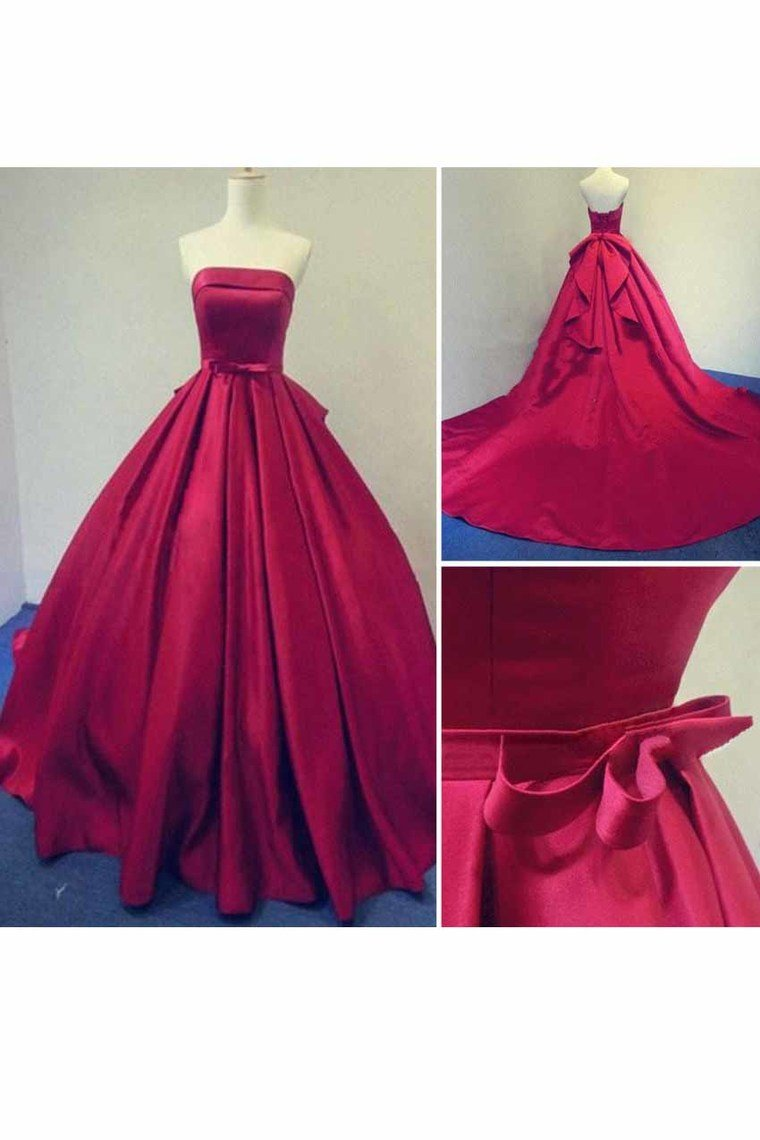 2019 Strapless A Line Satin With Sash Court Train Prom Dresses