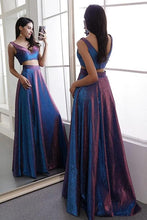 Load image into Gallery viewer, Two Pieces V Neck Straps V Back Floor Length Prom Dresses Long Party Dresses SRS15447
