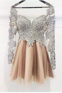 A Line Long Sleeves Homecoming Dress, Cheap Short Prom Dresses