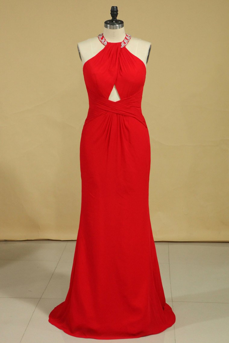 2019 Red Plus Size Scoop Prom Dresses Floor Length Spandex With Beading And Ruffles