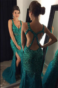 2019 Tulle Straps With Beads And Slit Prom Dresses Mermaid Open Back