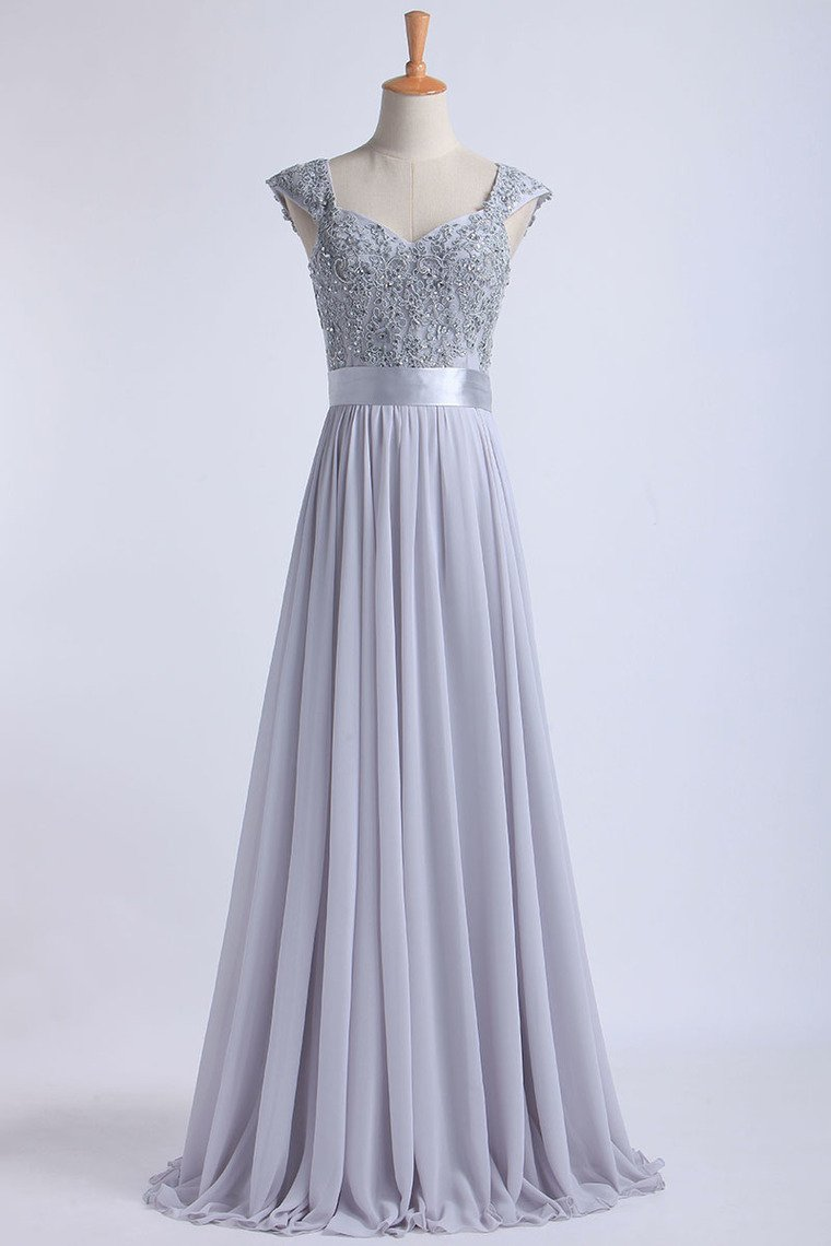 2019 Off The Shoulder A-Line Floor-Length Prom Dresses Beaded Bodice Tulle And Chiffon