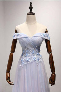 Sky Blue A-Line Off-the-Shoulder Floor-Length Tulle Prom Dresses with Appliques Lace RS955