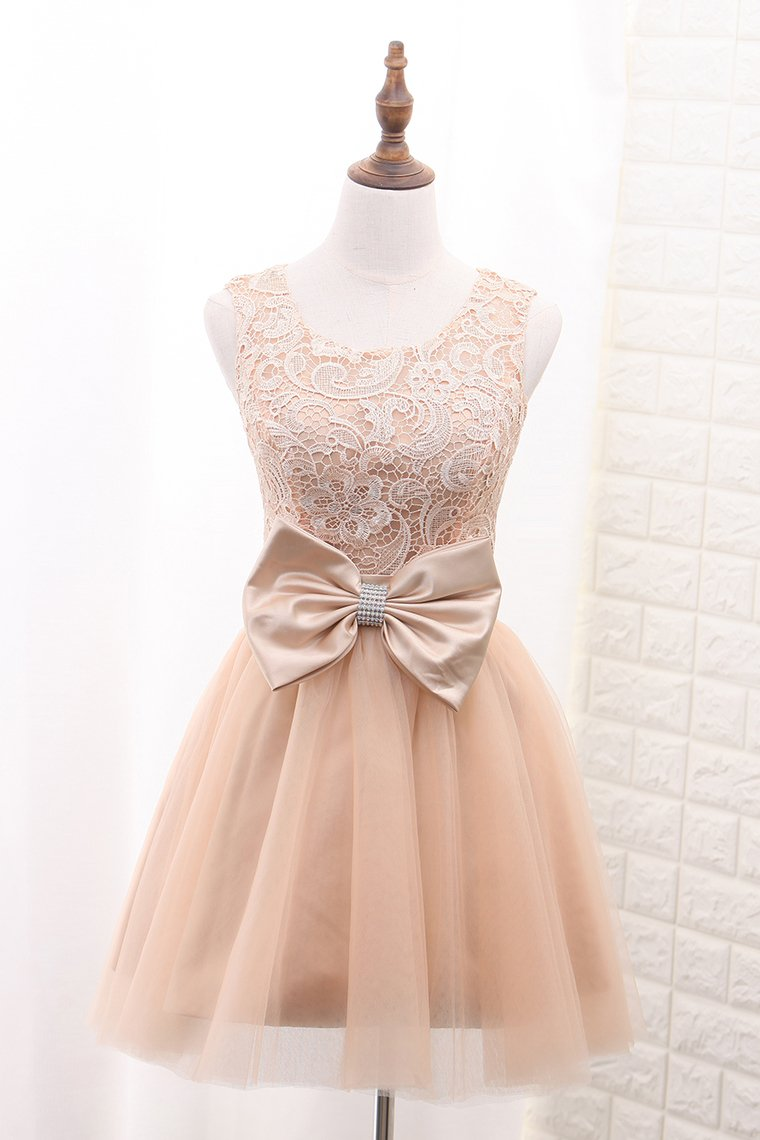 2019 Tulle & Lace Homecoming Dresses Scoop A Line With Sash