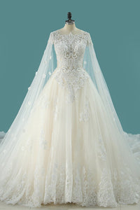 2019 Luxurious Scoop Wedding Dresses A Line Tulle With Appliques And Beading Royal Train
