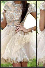 Load image into Gallery viewer, Homecoming dress Short Charming Prom Dress Cap Sleeves Backless Prom Dress BD618