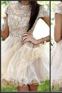 Homecoming dress Short Charming Prom Dress Cap Sleeves Backless Prom Dress BD618