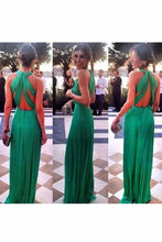 Load image into Gallery viewer, 2019 Sexy Open Back Scoop Chiffon With Ruffles A Line Prom Dresses
