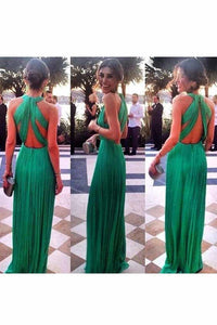 2019 Sexy Open Back Scoop Chiffon With Ruffles A Line Prom Dresses