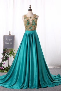 2019 Prom Dresses Stretch Satin A Line Scoop Beaded Bodice