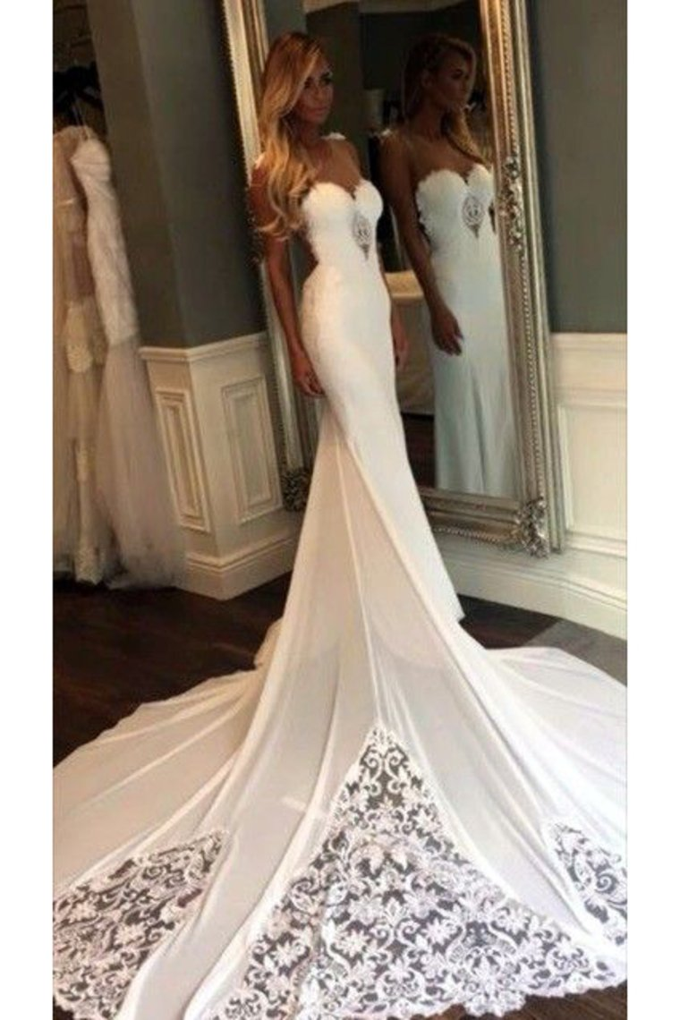 2019 New Arrival Scoop Chiffon Wedding Dresses With Applique Mermaid