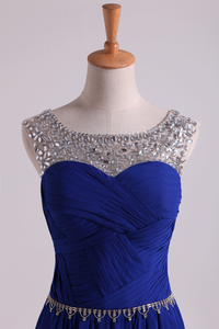 2019 Scoop Prom Dresses A Line Pleated Bodice Chiffon With Beads Dark Royal Blue