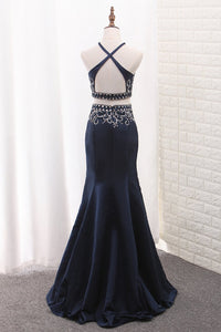 2019 Mermaid Two-Piece Satin Spaghetti Straps Prom Dresses With Beading