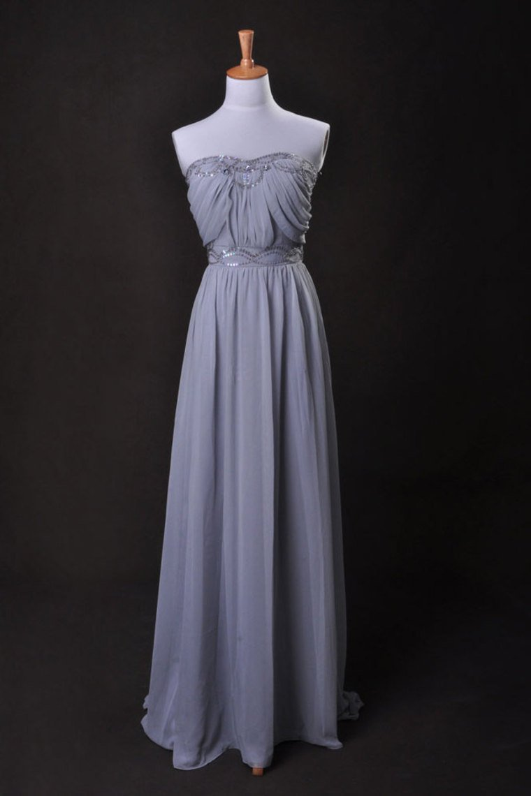 Silver Prom Dress A Line Strapless Floor Length Sweep/Brush Train Chiffon Cz