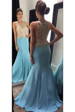 Load image into Gallery viewer, 2019 Scoop Beaded Bodice Mermaid Prom Dresses Satin Sweep Train