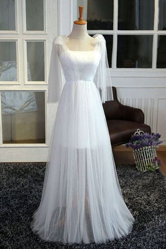 2019  White Tulle Strapless Bridesmaid Dresses See-Through Floor Length
